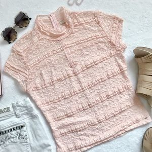Guess Blush Pink Lace Top Large